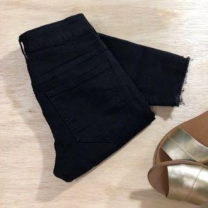Super Skinny Raw Hem Destructed Black Jeans by Div